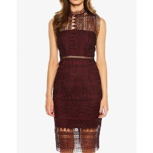 BARDOT Mariana Lace Body-con Dress in Burgundy